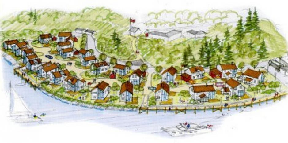 Sørlandsidyll i Midt-Norge.  Glømmen er blant selskapene bak utbyggingen av Statland brygge i Namdalseid.